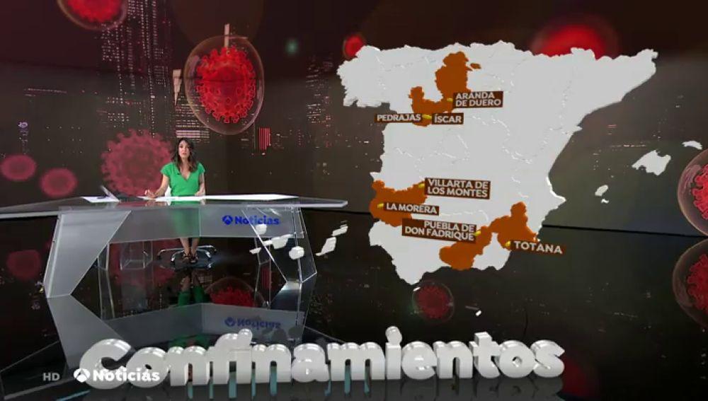 Todas las localidades y zonas que están confinadas por el coronavirus en España