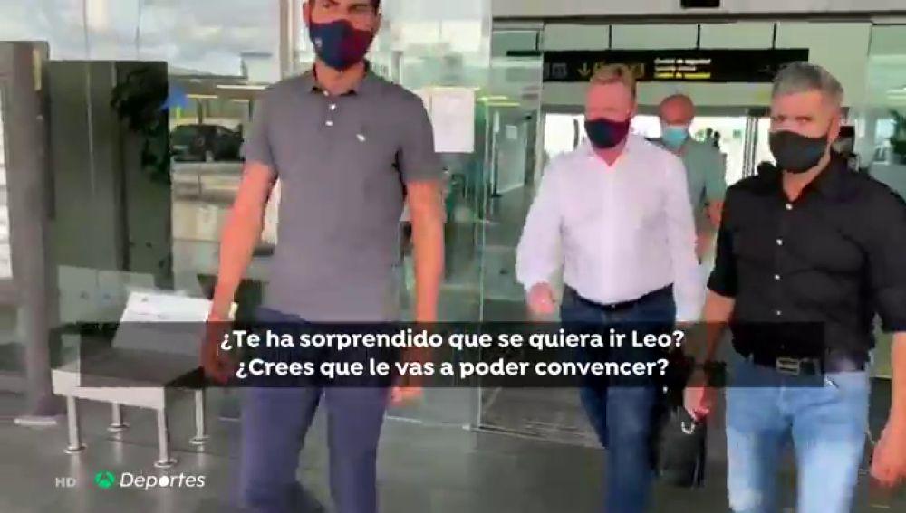 Ronald Koeman, preguntado por la posible salida de Leo Messi al aterrizar en Barcelona