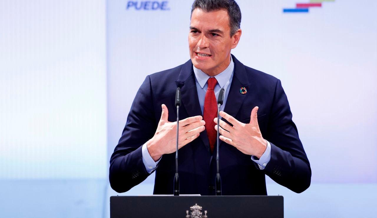 El presidente del Gobierno, Pedro Sánchez, durante la conferencia