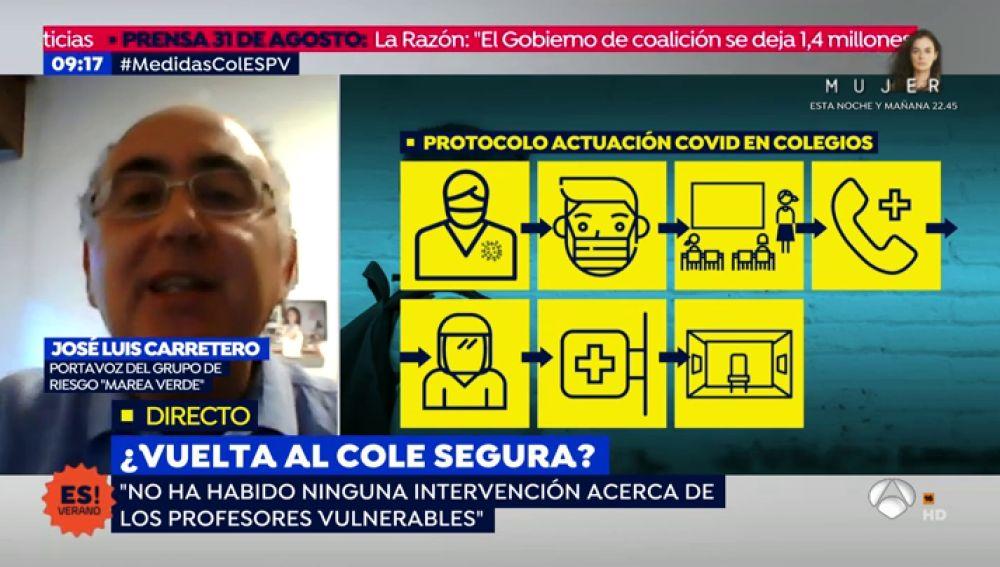 """El portavoz del grupo 'Marea Verde', sobre los profesores vulnerables ante el coronavirus: """"Nos encontramos con un auténtico vacío legislativo"""""""