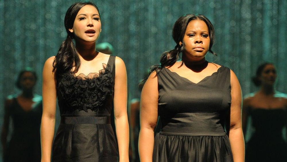 Naya Rivera y Amber Riley en 'Glee'