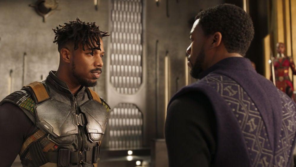 Michael B. Jordan y Chadwick Boseman en 'Black Panther'