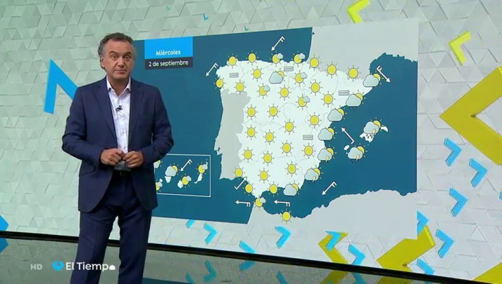 Este miércoles chubascos y tormentas, que podrían ser localmente fuertes, en Baleares, Alicante y Almería