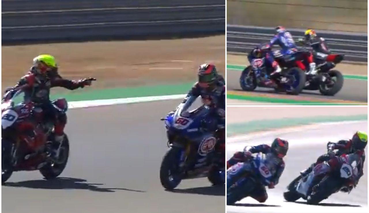 Dos pilotos se persiguen para pegarse en plena competición de Superbikes en Aragón