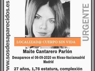 Maite Cantarero Parlón, desaparecida en Rivas-Vaciamadrid