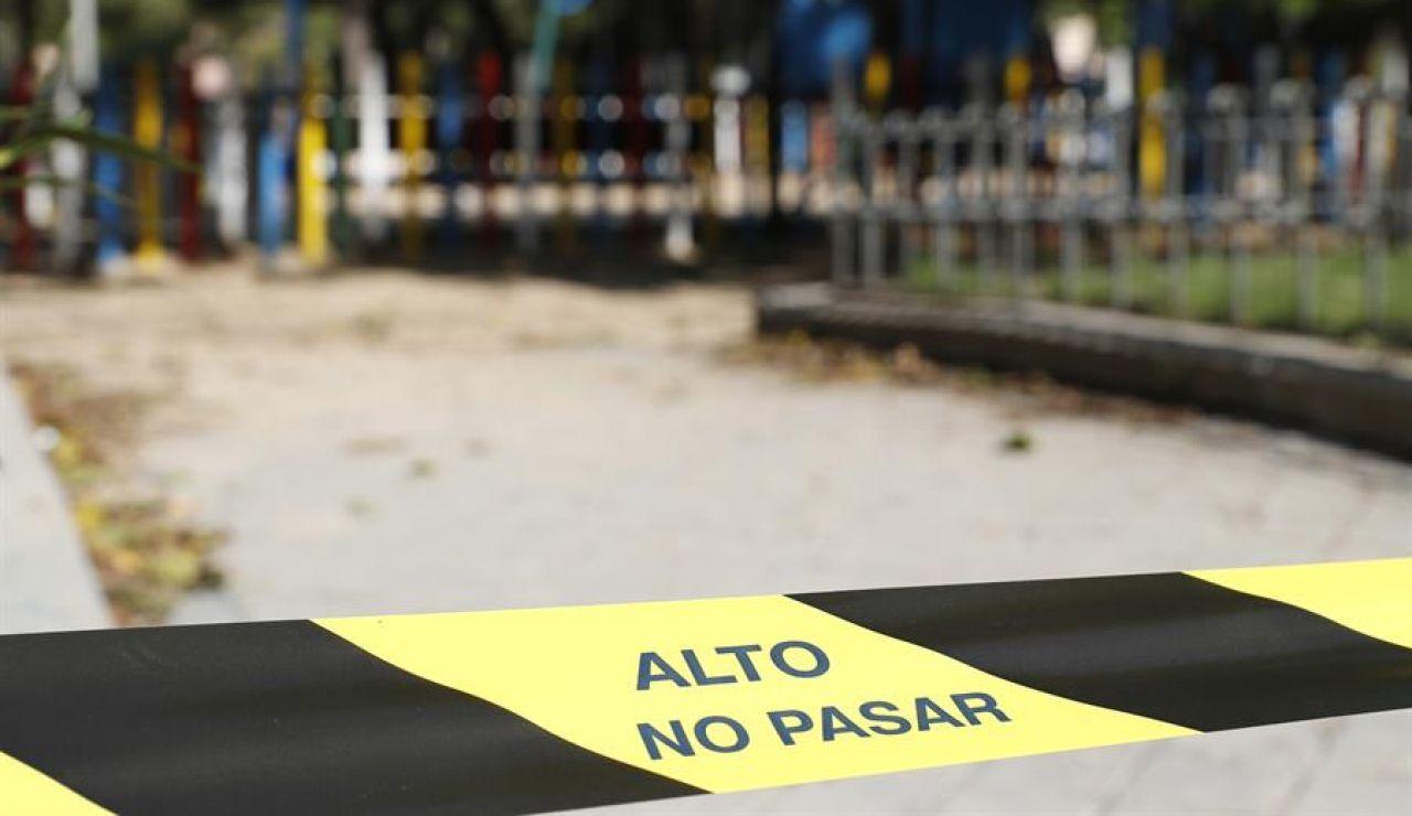 'Alto. No pasar' en un parque de Madrid