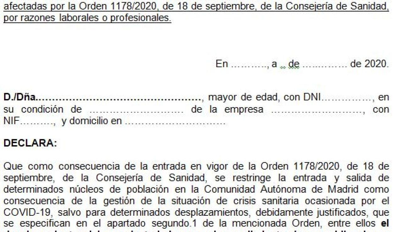 Justificante de movilidad covid para la Comunidad de Madrid por motivos laborales para descargar