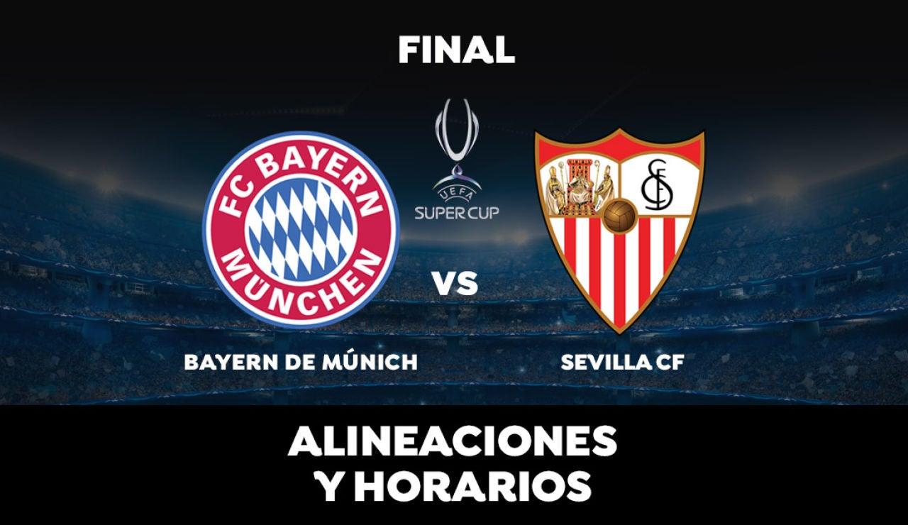 Alineaciones y horarios del Bayern de Múnich vs Sevilla