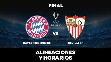 Bayern-Sevilla: Alineación del Sevilla y dónde ver la final de la Supercopa de Europa hoy en directo