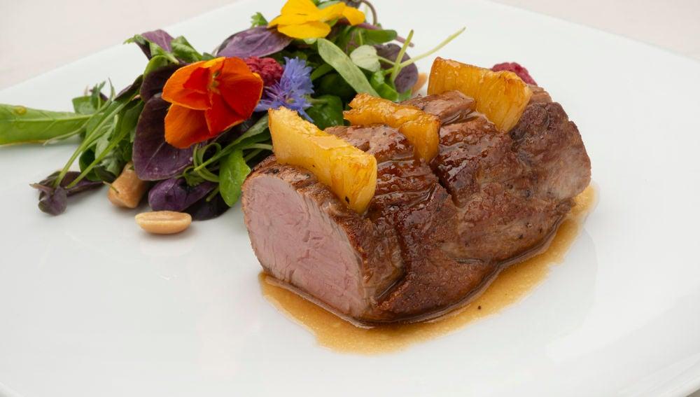 La receta de solomillo de cerdo con piña, de Joseba Arguiñano