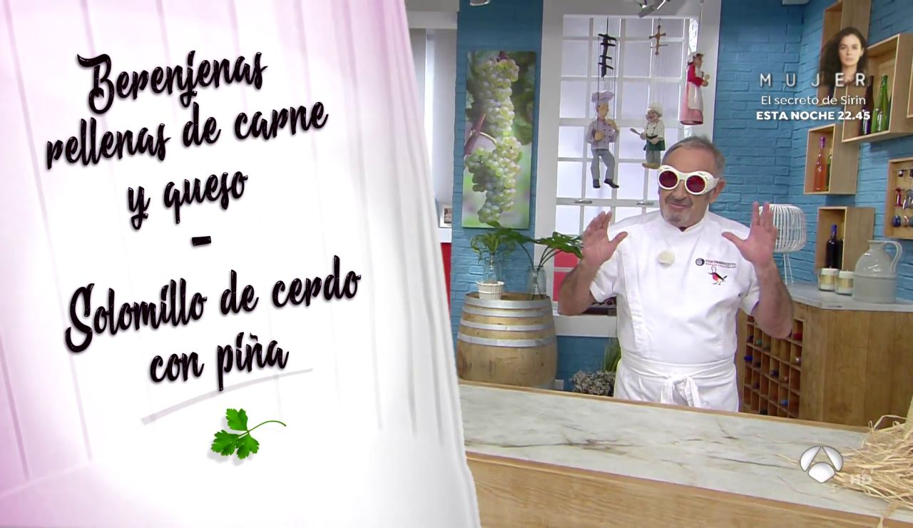 El menú 'padre e hijo', de Karlos Arguiñano: berenjenas rellenas y solomillo de cerdo con piña