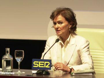 """Carmen Calvo agradece al Rey """"saber estar siempre en su sitio"""" y su """"neutralidad política"""""""
