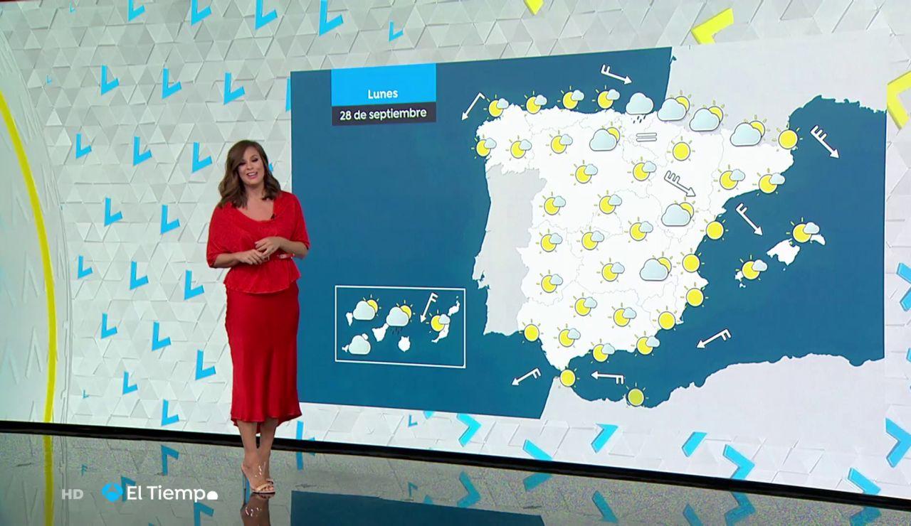 Tu Tiempo (27-09-20) Bajan las temperaturas en el norte y sigue el viento en el este y en las islas