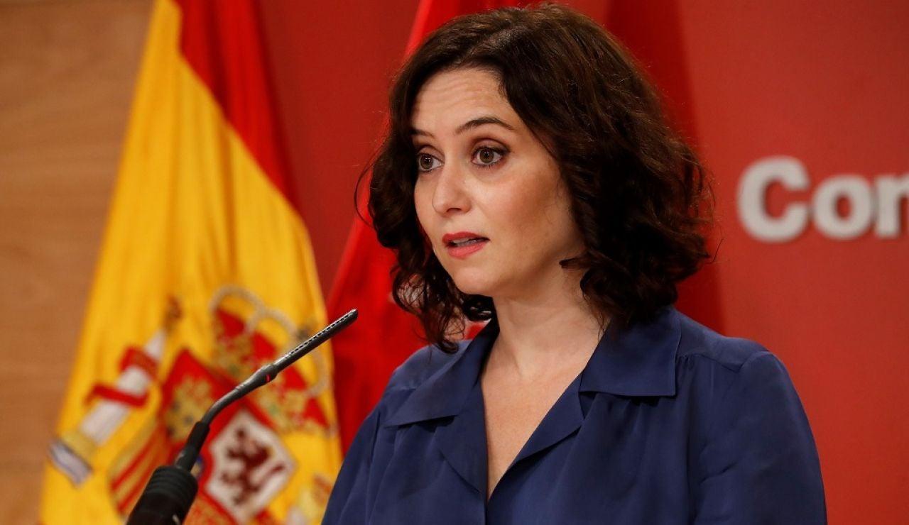 Isabel Díaz Ayuso durante la rueda de prensa ofrecida este jueves en la Real Casa de Correos