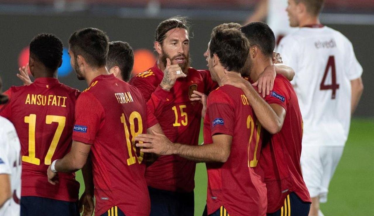 Oyarzábal celebra su gol ante Suiza