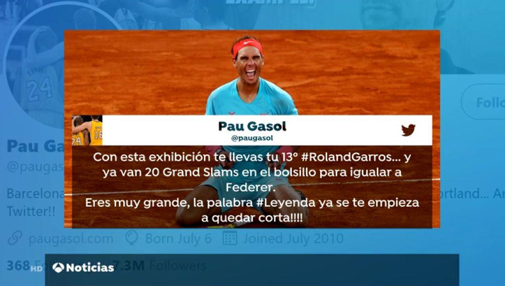El rey Felipe VI, Fernando Alonso, Pau Gasol o Carolina Marín: el mundo se rinde a Rafa Nadal tras su 13º Roland Garros