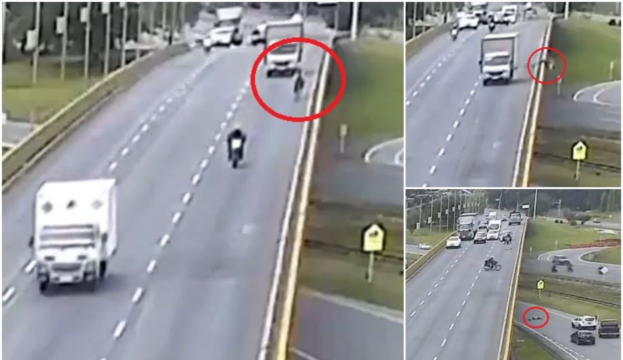 Muere un ciclista tras ser arrollado por un camión y caer al vacío desde un puente en Colombia