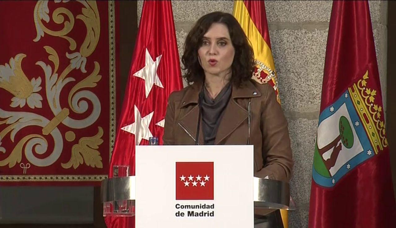 Isabel Díaz Ayuso reclama al Gobierno que anule el estado de alarma en la Comunidad de Madrid