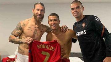 Sergio Ramos, Pepe y Cristiano tras el España - Portugal