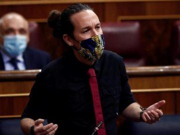 Imagen de Pablo Iglesias en la sesión de control al Gobierno