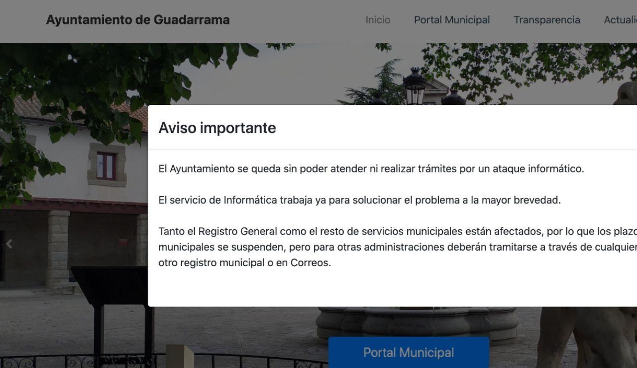 Ayuntamiento de Guadarrama, ciberataque