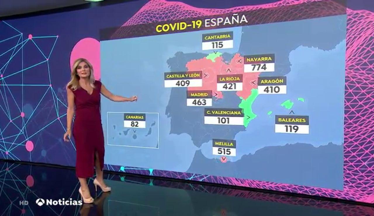 El mapa que muestra qué comunidades tienen más incidencia del coronavirus en España