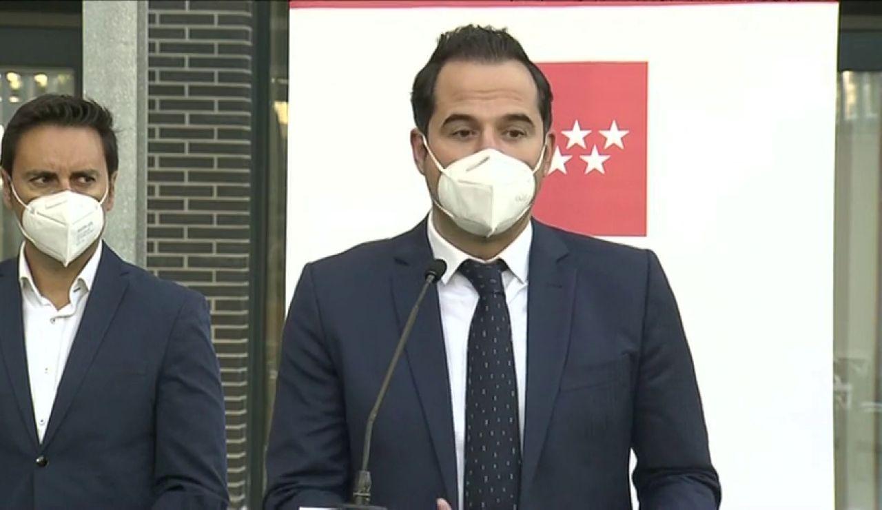 Ignacio Aguado pronostica medidas más duras en Madrid para bajar la incidencia de contagios de 450 a 25 contagios en Navidad