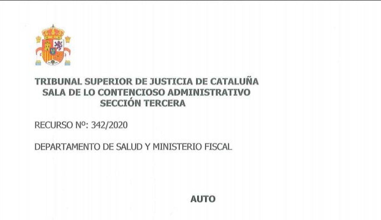 Auto completo del TSJC sobre las medidas y restricciones adoptadas en Cataluña contra el coronavirus en PDF