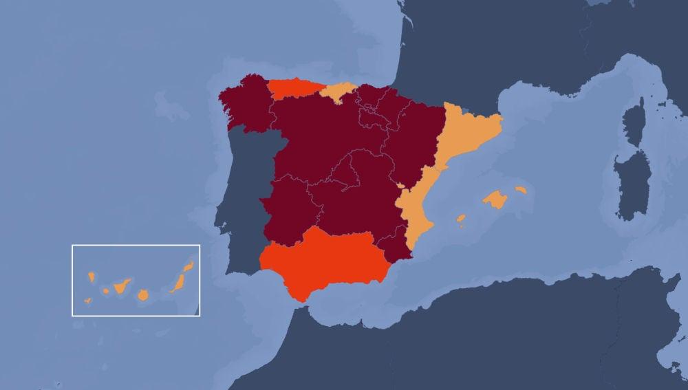 Niveles de riesgo de coronavirus en España