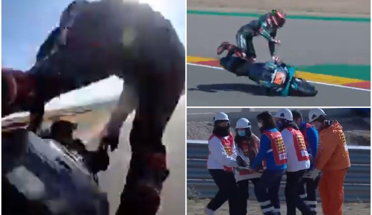 Fabio Quartararo, trasladado al hospital tras una terrible caída en la clasificación del GP de Aragón