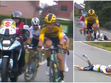 La caída de Julian Alaphilippe tras chocar con una moto en el Tour de Flandes