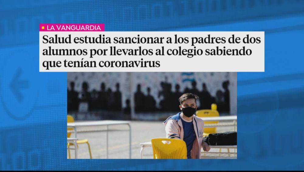 Salud estudia sancionar a los padres de dos alumnos por llevarlos al colegio sabiendo que tenían coronavirus