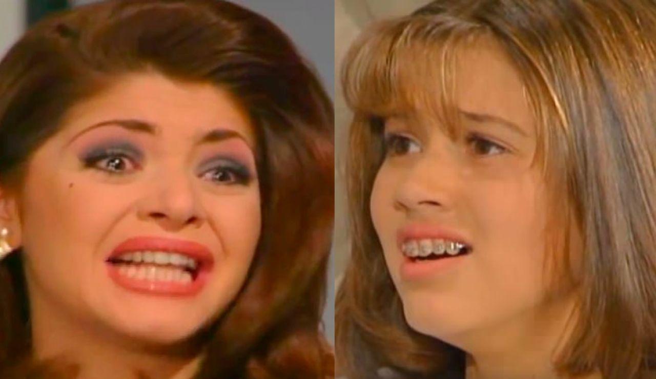 """Itatí Cantoral y Yuliana Peniche en el momento de """"maldita lisiada"""" de 'María, la del barrio'"""