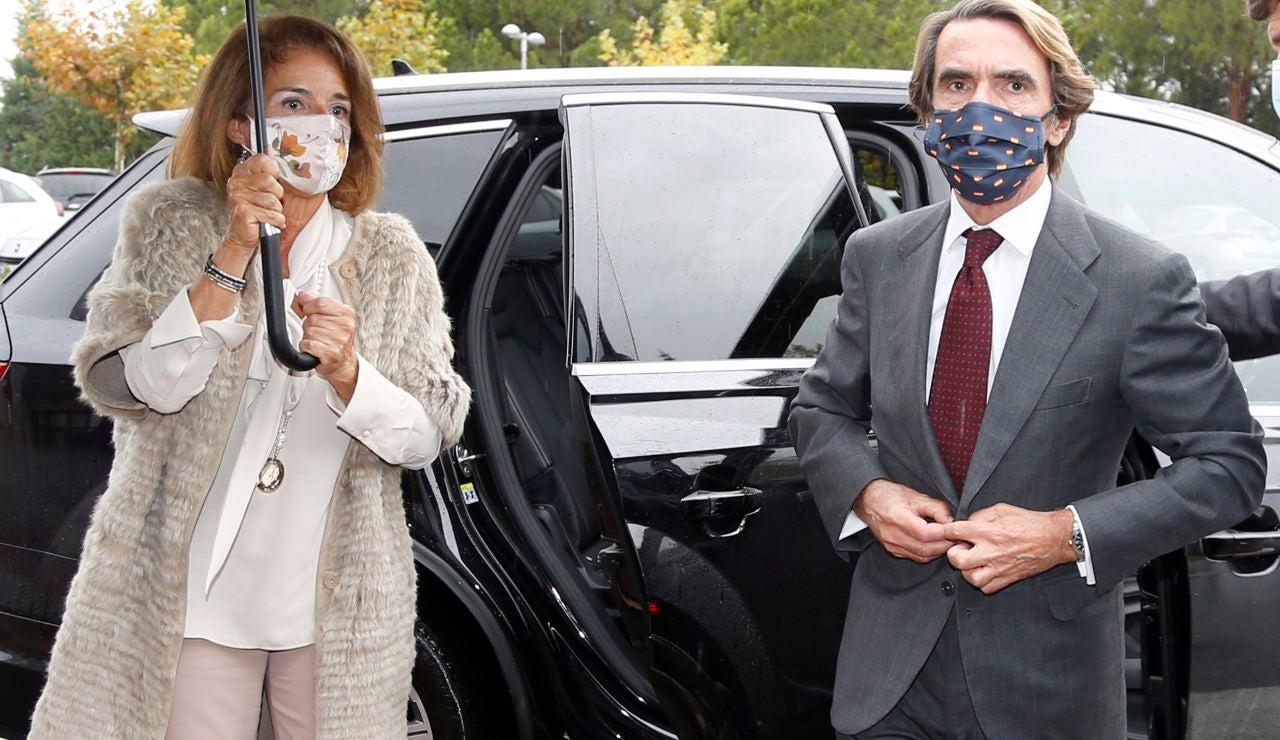 Ana Botella y José María Aznar a su llegada al tanatorio