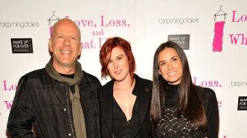 Demi Moore y Bruce Willis con su hija Rumer Willis