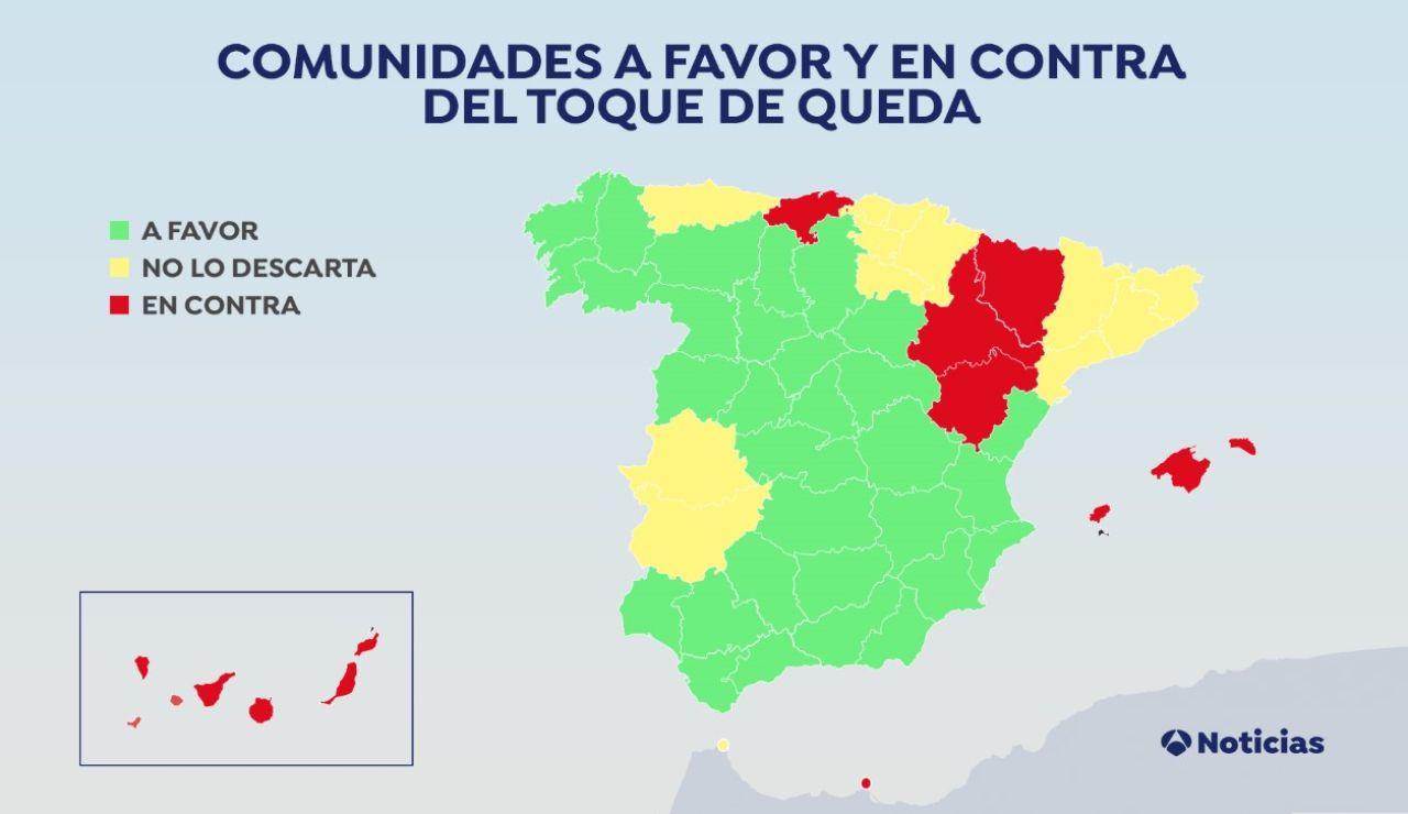 Qué comunidades autónomas estarían a favor del 'toque de queda' para combatir el coronavirus en España
