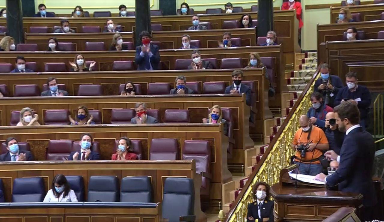 Pablo Casado le dice a Abascal que vota no a la moción de censura de Vox porque es un seguro de vida para Pedro Sánchez