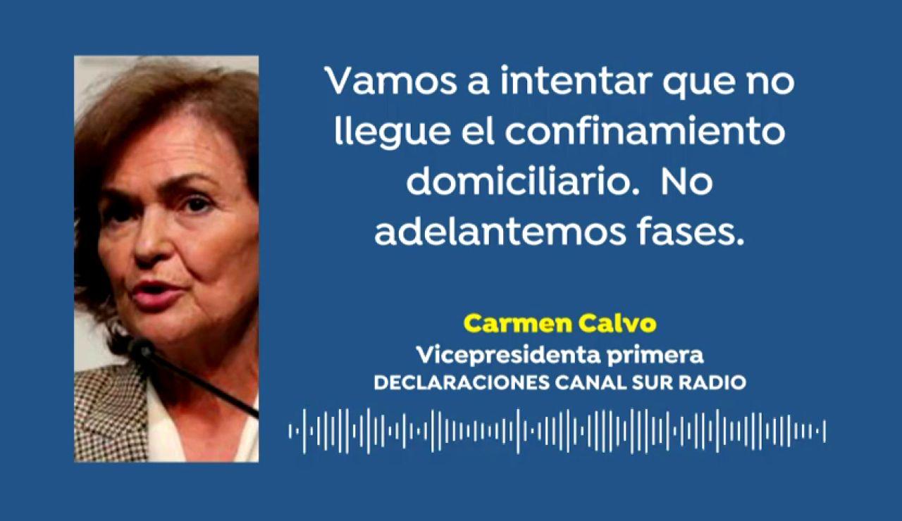 """Carmen Calvo, sobre el confinamiento domiciliario: """"Vamos a intentar que no llegue"""""""