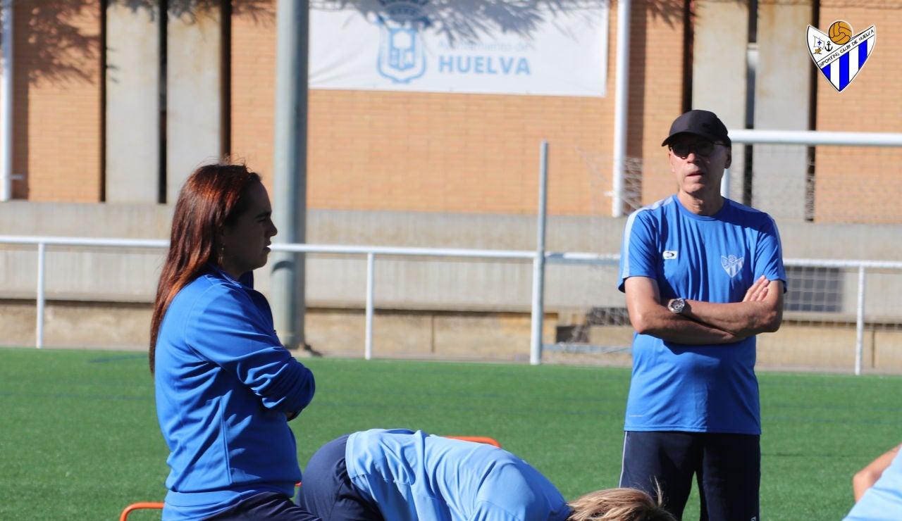 Antonio Toledo, en un entrenamiento del Sporting Club de Huelva