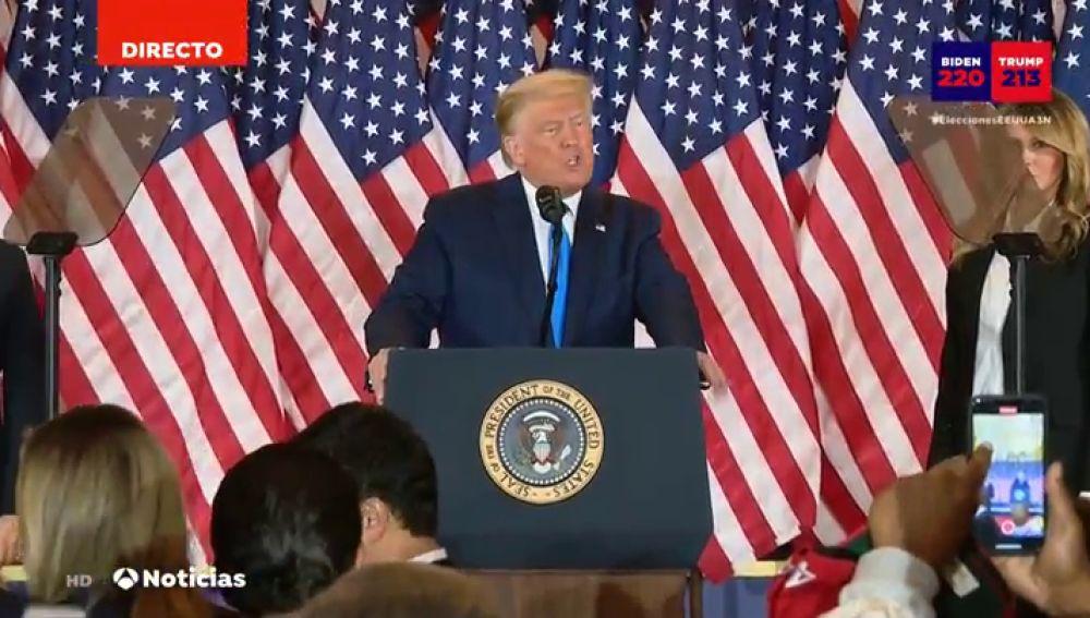 Comparecencia de Donald Trump durante las elecciones en EEUU 2020 hoy, streaming en directo