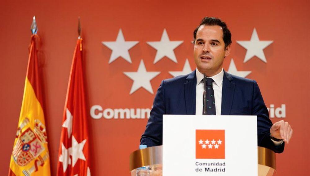 El vicepresidente, consejero de Deportes, Transparencia y portavoz de la Comunidad de Madrid, Ignacio Aguado.