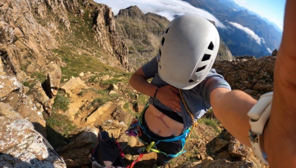 Irene, en mitad de una escalada