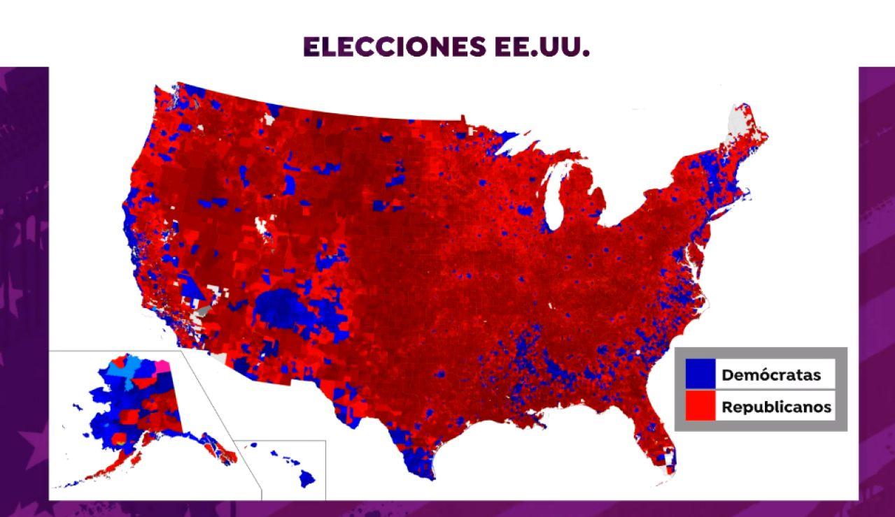 El mapa que refleja cómo se divide el voto republicano y demócrata por zonas en las elecciones de Estados Unidos