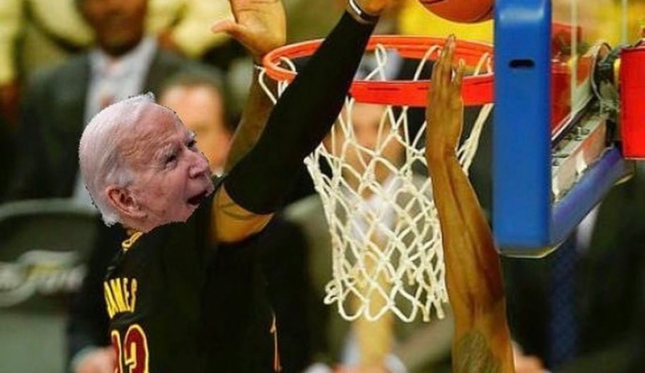 Meme Lebron James victoria Joe Biden