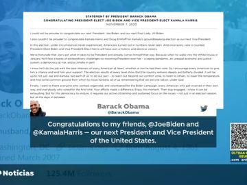 Barack Obama, Hillary Clinton, Angela Merkel, Boris Johnson, todas las reacciones a la victoria de Joe Biden en EEUU