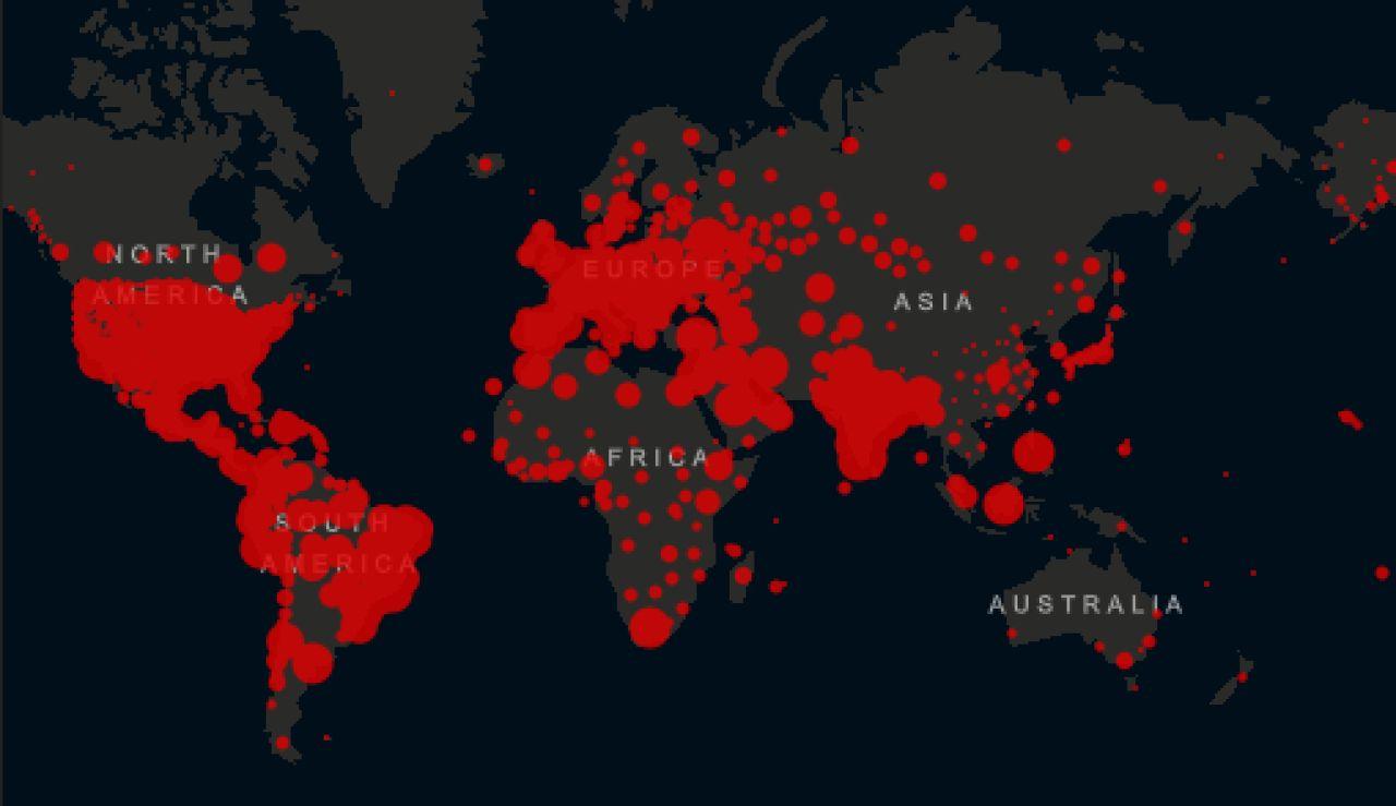 Mapa de contagios por coronavirus