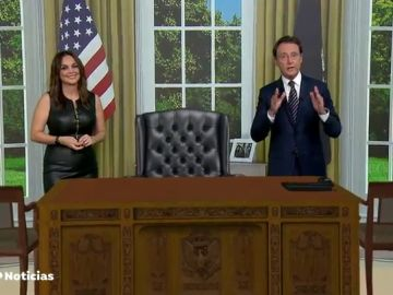 Matías Prats y Mónica Carrillo bromean sobre si aparece Donald Trump en el despacho oval recreado en realidad aumentada