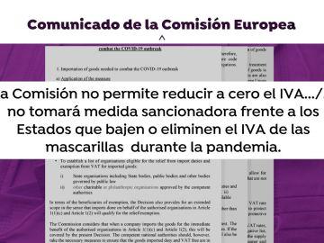 El comunicado de abril de la Comisión Europea en el que permitía bajar el IVA de las mascarillas