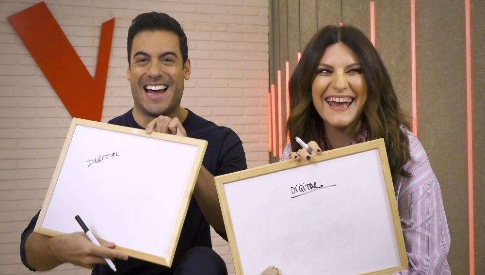 """Laura Pausini y Carlos Rivera, una pareja de lo más divertida en el juego de 'La Voz': """"Somos perfectos"""""""