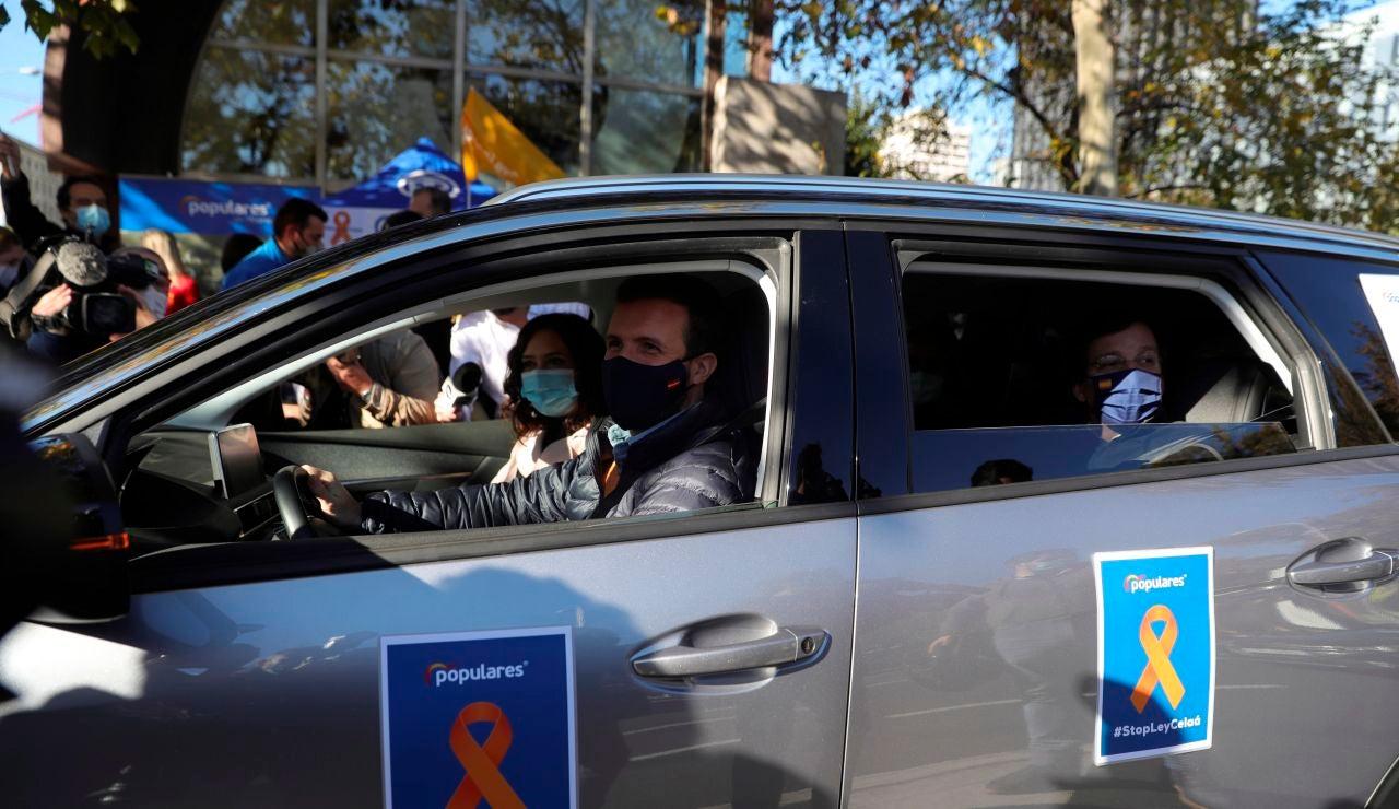 Pablo Casado, durante las protestas contra la ley Celaá
